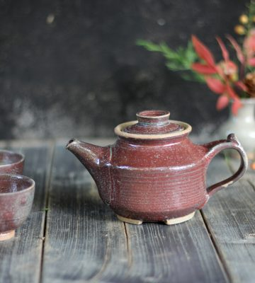 purple tea pot. clay & wood studio