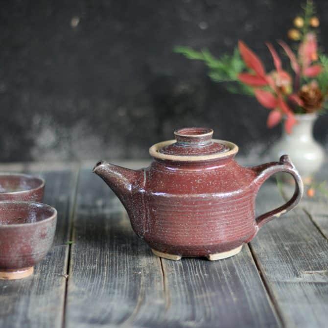 purple tea pot. clay & wood studio