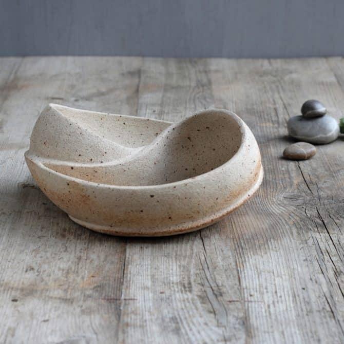 SCULPTURED ZEN BOWL. clay & wood studio