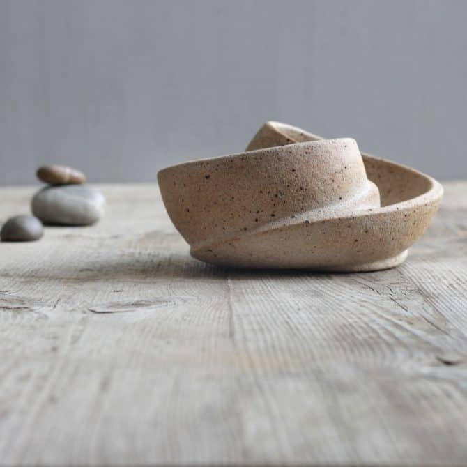 SCULPTURED ZEN BOWL. clay & wood studio