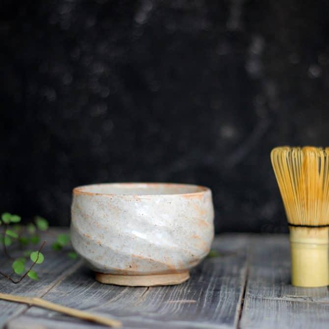 Japanese tea bowl clay & wood studio