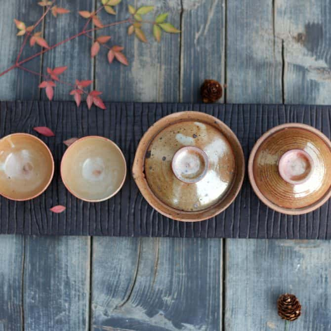 green tea gift set hand made uniqe clay & wood studio