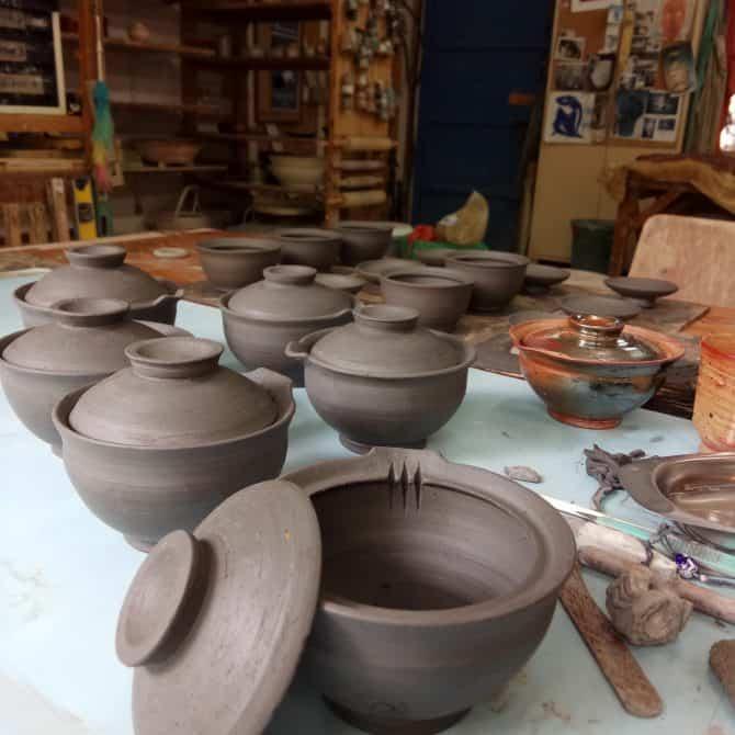 turquoise tea set. clay & wood studio