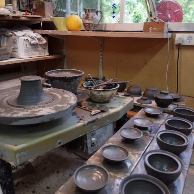 white tea set. clay & wood studio