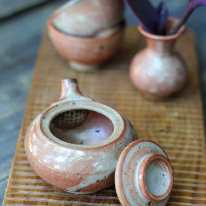 peach tea set. clay & wood studio