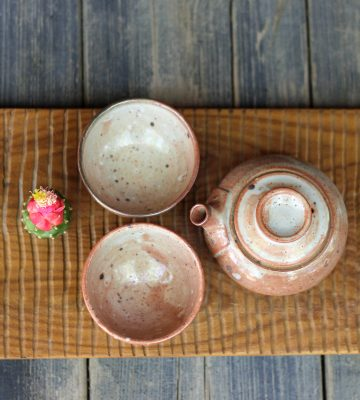 peach tea set. clay & wood studio