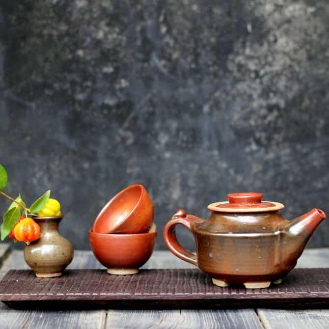 sunset tiny teapot. clay & wood studio