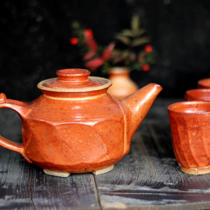 lava tea set. clay & wood studio