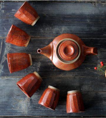 lava tea set. clay & wood studio