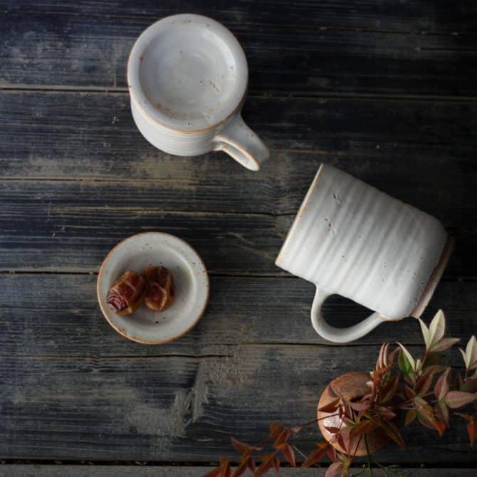 winter mugs set. clay & wood studio