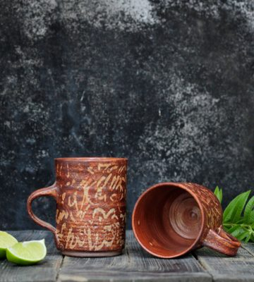 deep orange mug set
