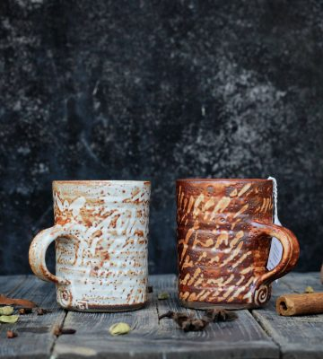 orange pattern mugs