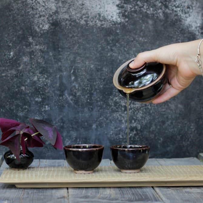 Japanese Tea Ceremony Set tenmoku glaze late night tea set